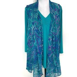Susan Graver Print Chiffon Vest & liquid knit top